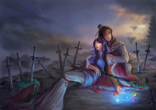 Zhao Ling'er dying in Xiaoyao's arms